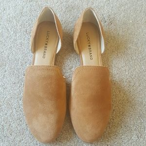 New lucky Brand tan suede women's flats shoes